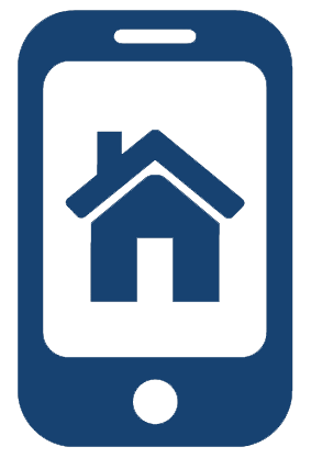 Icon showing a house on a mobile phone